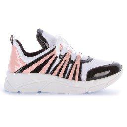 Tênis Runner Sneaker Verniz Preto Rosa e Branco Marca Di Valentini