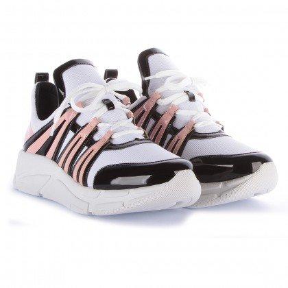 18e797a7504 Tênis Runner Sneaker Verniz Preto Rosa e Branco Marca Di Valentini