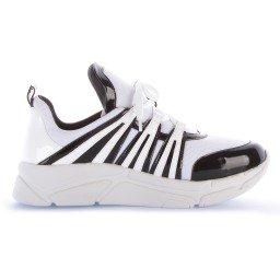 Tênis Runner Sneaker Verniz Preto e Branco Marca Di Valentini