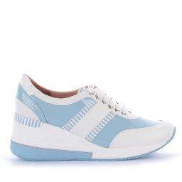 Tênis Yasmine Salto Verniz Azul e Branco Marca Camminare