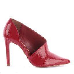 Scarpin Isabel Verniz Vermelho Sola Dourada Marca Di Valentini