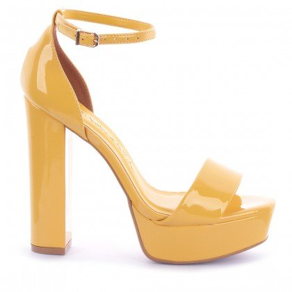 Sandália Demi 535-04878 Verniz Amarelo Marca Di Valentini