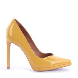 Scarpin Naila Verniz Amarelo Marca Di Valentini