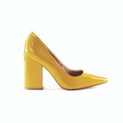Scarpin Jéssica 885-13039 Verniz Amarelo Marca Camminare