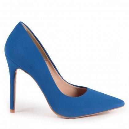Scarpin Tayne 1023-80737 Nobuck Azul Marca Paula Brazil