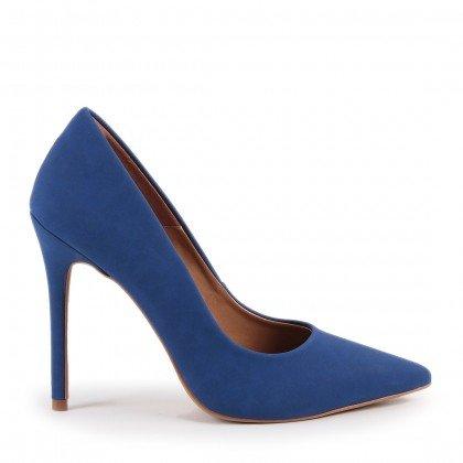 Scarpin Helo 930-80030 Nobuck Azul Marca Paula Brazil