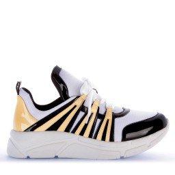 Tênis Runner Sneaker Verniz Preto Amarelo e Branco Marca Di Valentini