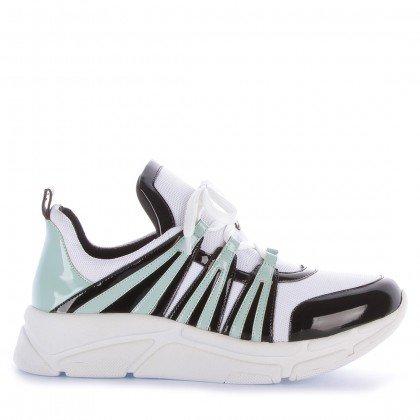 Tênis Runner Sneaker Verniz Preto Verde e Branco Marca Di Valentini