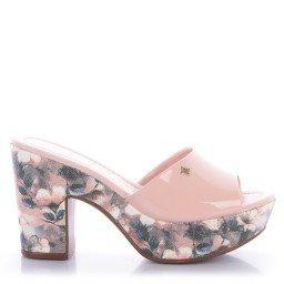 Tamanco Leandra 4067-05568 Salto Floral Verniz Rosa Marca Di Valentini