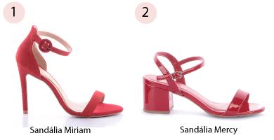 sandalia duas tiras vermelha