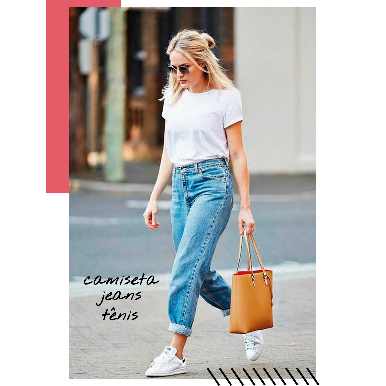 look camiseta jeans e tenis