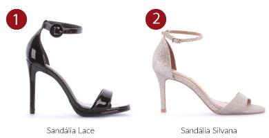 sandalia preta e sandalia de glitter