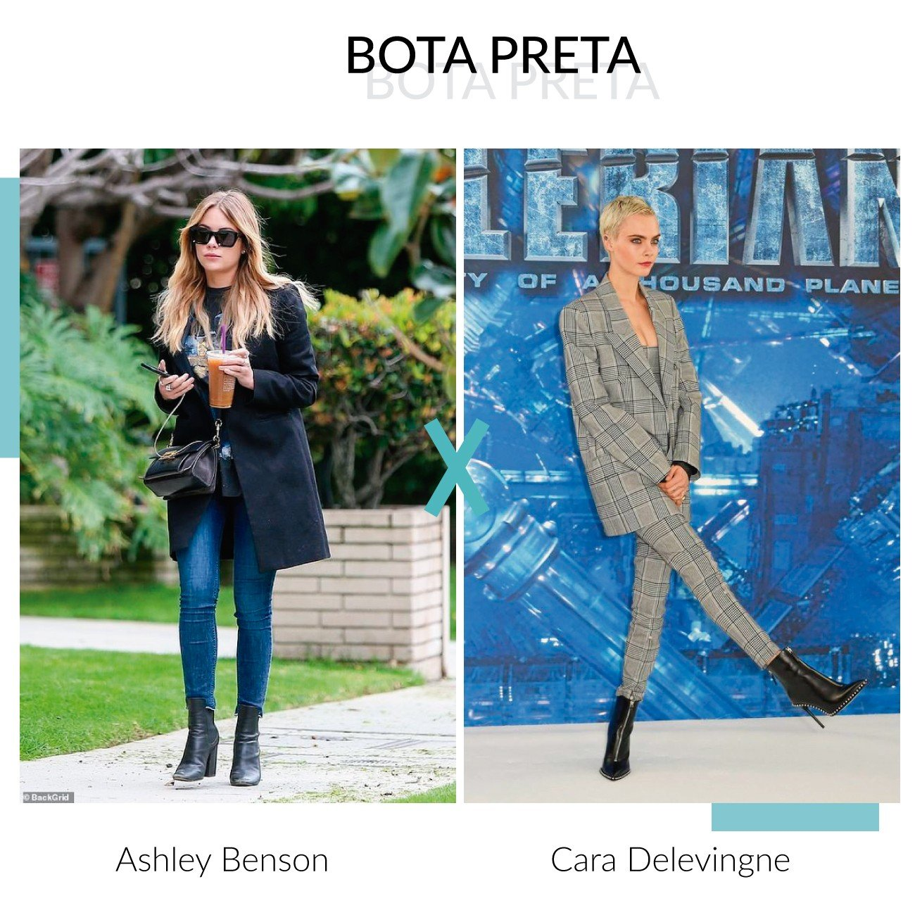 bota preta ashley benson e cara delevingne