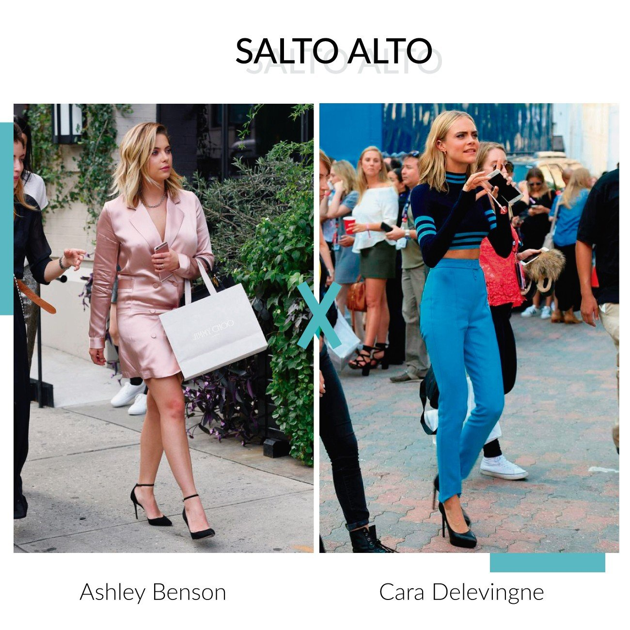 salto alto ashley benson e cara delevingne