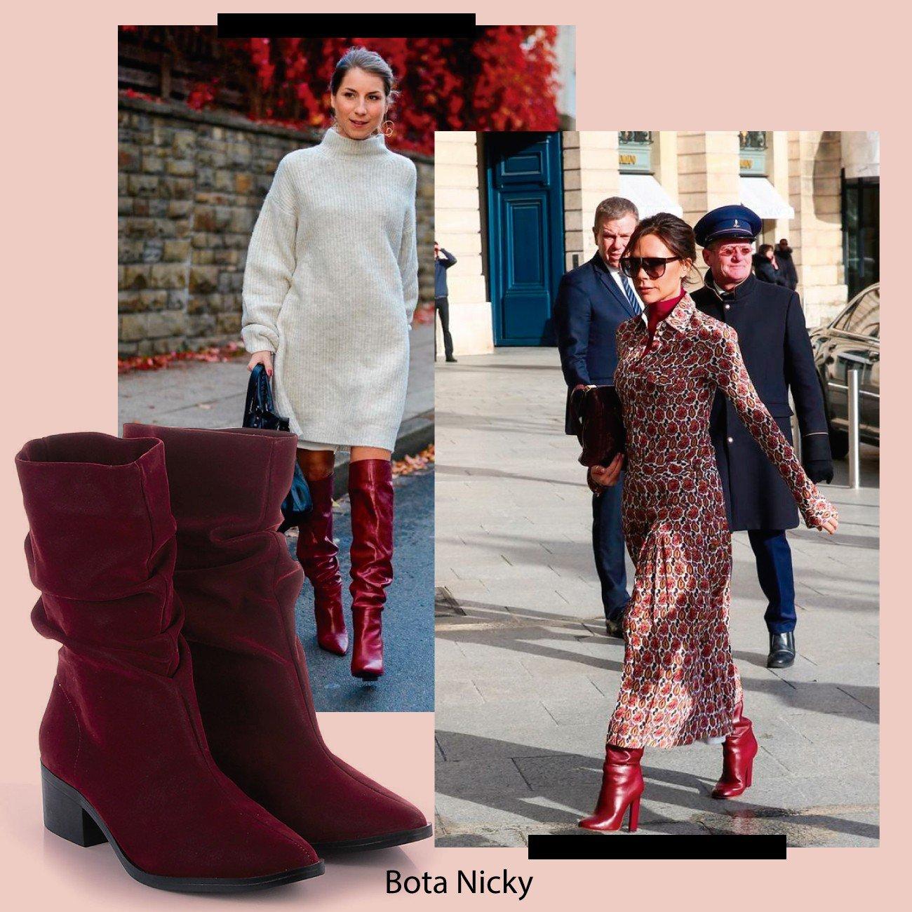 slouch boot vermelho