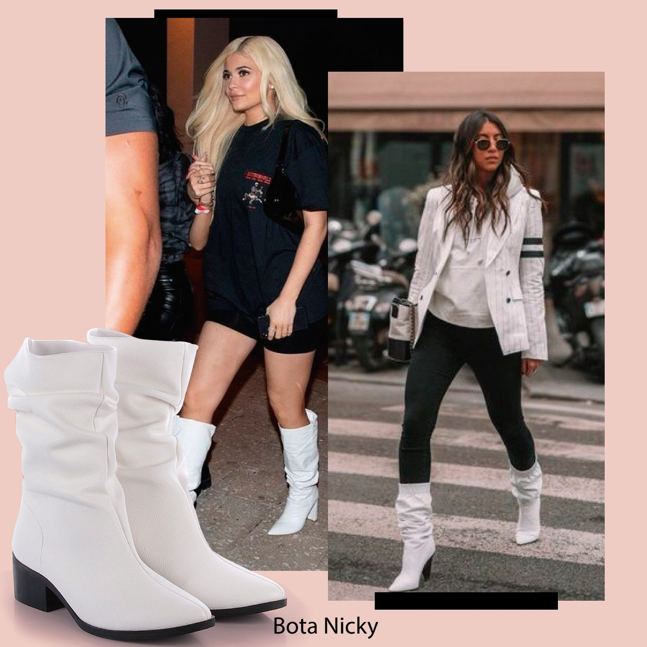slouch boot branco