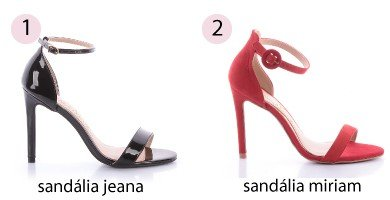 sandlia preta e sandlia vermelha