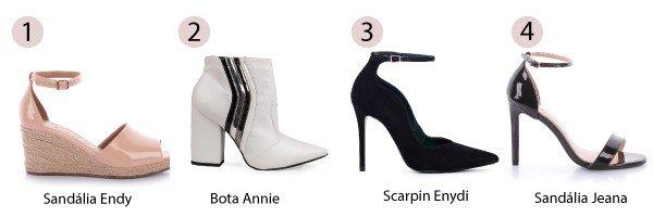 sandlia   bota branca   scarpin preto   sandlia duas tiras