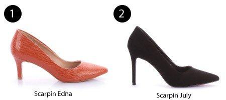scarpin laranja e scarpin preto