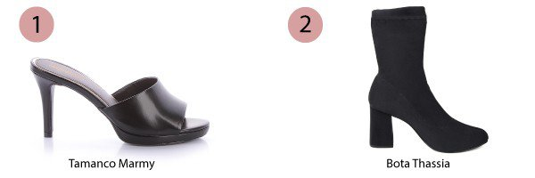tamanco preto e bota preta
