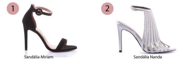 sandlia preta e sandlia prata