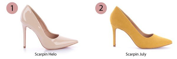 scarpin nude e scarpin amarelo