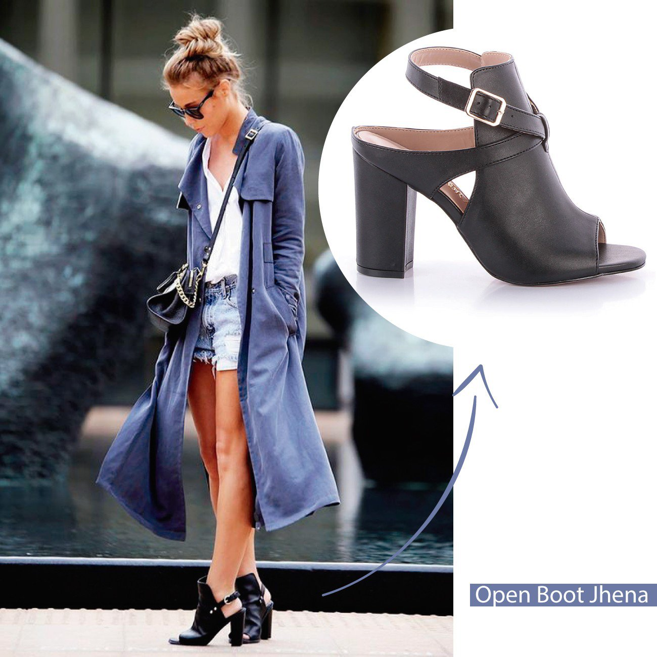 Look open boot preto