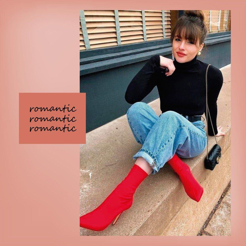 look gola alta com bota vermelha