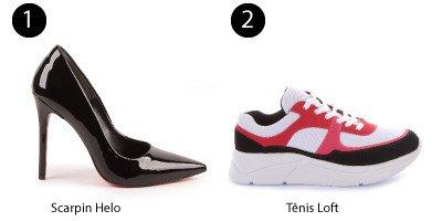 scarpin preto e tnis sneaker