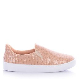 Tênis Slip On 1012-2018 Verniz Croco Nude