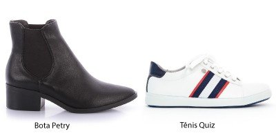 bota preta e tenis branco