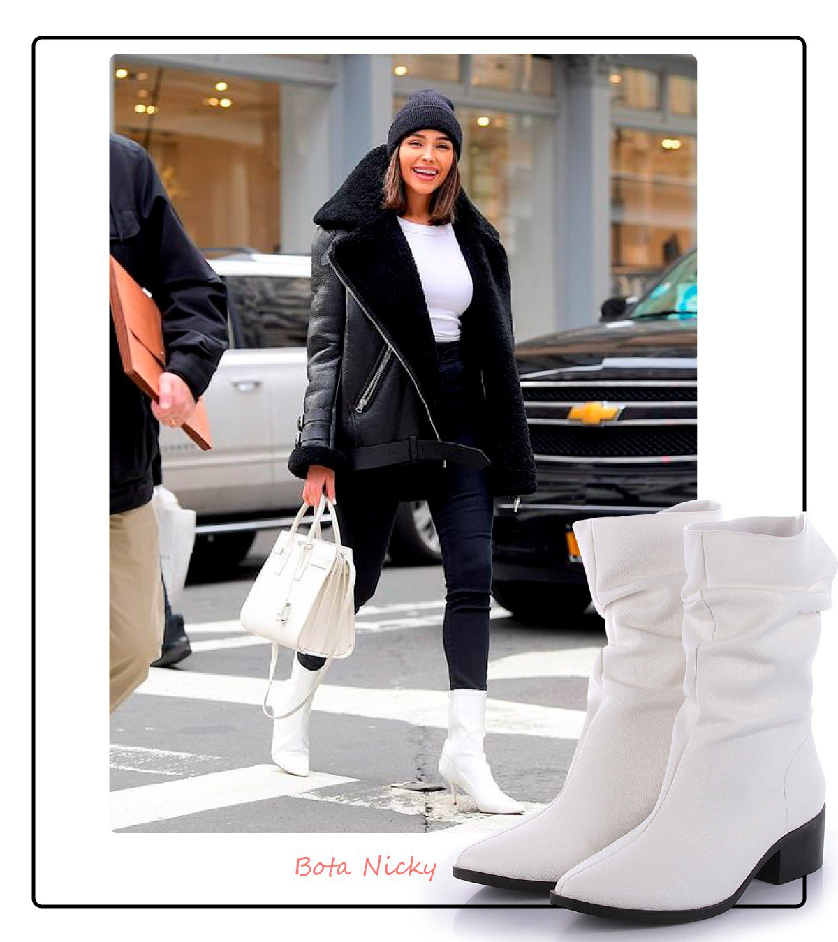 Look com bota branca slouch boot
