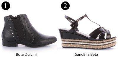 bota preta e sandlia