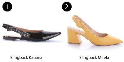slingback preto e slingback amarelo