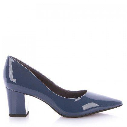 Scarpin Francis 4062-05572 Sola Preta Verniz Azul Marca Di Valentini