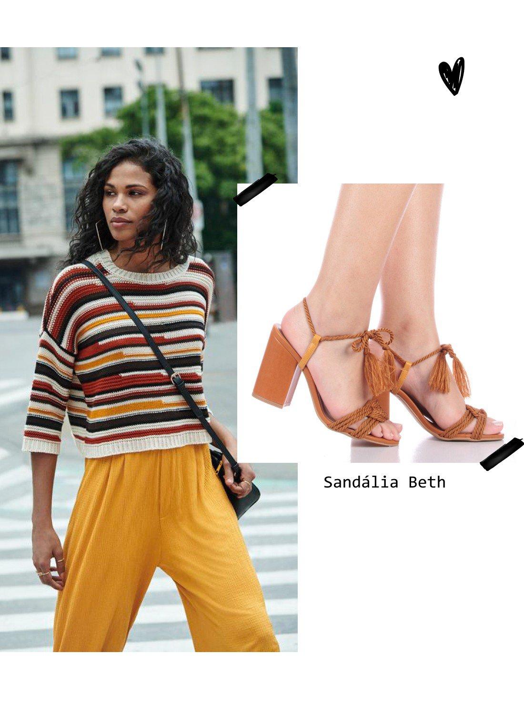 sandália de amarração look 4