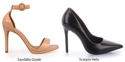 sandalia nude scarpin preto