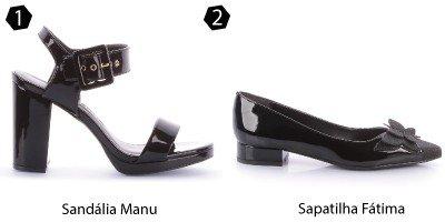 sandlia preta e sapatilha manu
