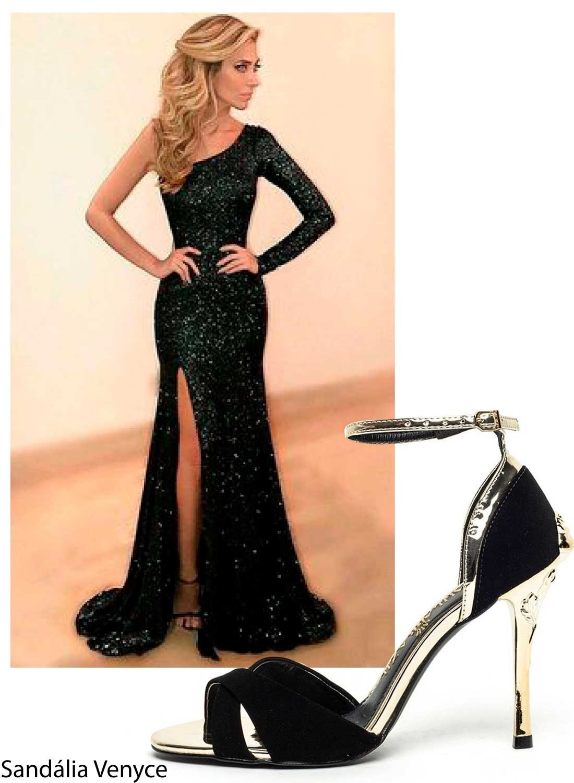vestido de formatura com sandalia preta 2