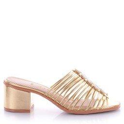 Tamanco Metalizado Dourado Di Valentini
