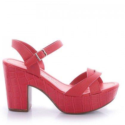 Sandália Alta Croco Vermelho Di Valentini