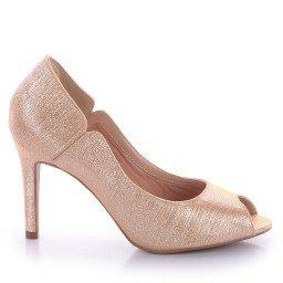 Peep Toe Dourado Salto Fino L'atelier