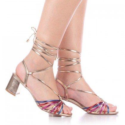 Sandália Metalizada Colorida Amarração L'atelier