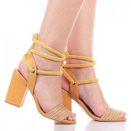 Sandália Amarração Amarela Di Valentini