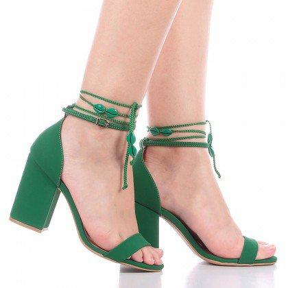 Sandália Amarração Verde Di Valentini