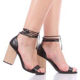 Sandália Amarração Preta Di Valentini