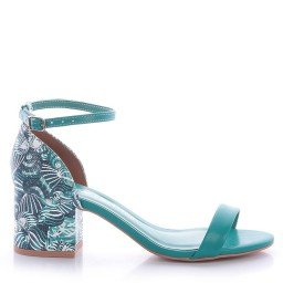 Sandália Salto Baixo Verde Di Valentini