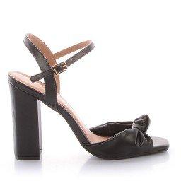 Sandália Salto Grosso Preta Di Valentini