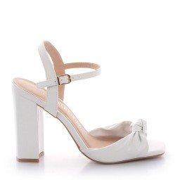Sandália Salto Grosso Branca Di Valentini