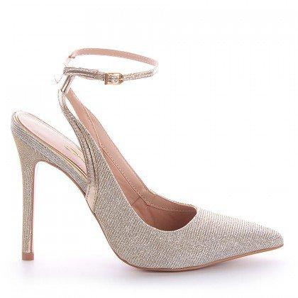 Sapato Tecido Dourado Salto Fino L'atelier